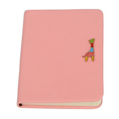Desk Accessories - Happy Giraffe Style Pu Leather Notepad Notebook 80 Sheets Size S Pink