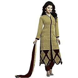 Typify Beige Embroidered Semistitched Dress Material