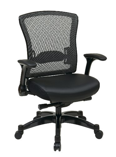 space-seating-professional-r2-spacegrid-back-chair-with-padded-memory-foam-eco-leather-seat-gunmetal