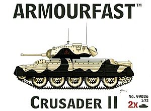 Armourfast 1/72 British Crusader II Tank Model Kit - Contains 2 Tanks