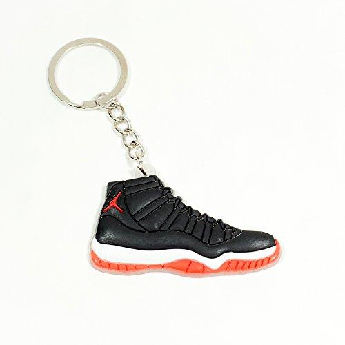 Air Jordan 11 Basketball Jumpman Key Chain in Bred 11 Black White Red