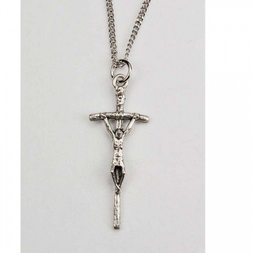 "Men or Womens Religious & Necklace, Papal Crucifix Boxed Silver Ox 1-1/2"" on 18"" Rhodium Plated Chain Gift Boxed"