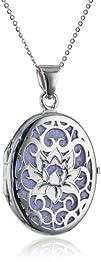 Italian Sterling Silver Lotus Flower Locket Necklace 188243