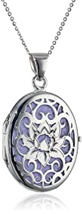Italian Sterling Silver and Purple Lotus Flower Locket Necklace, 18""