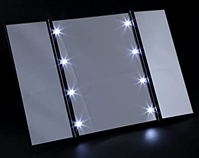 Cheapest 8 Lighted LED Makeup Mirror, SKM Portable Travel Luminous Cosmetic Mirror, Three Folding Table Mirror, Pocket Mirror, Compact Mirror from SKM - Free Shipping Available