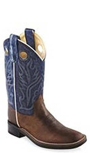 Old West Blue Youth Boys Oily Leather Broad Square Toe Cowboy Boots 4 D front-589263