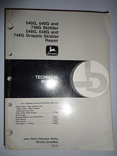 John Deere 540G 640G 740G 548G 648G 748G Skidder and Grapple Skidder Technical Service Shop REPAIR Manual 6/95