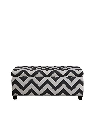 MJL Furniture Sole Secret Large Upholstered Shoe Storage Bench, Charcoal/White