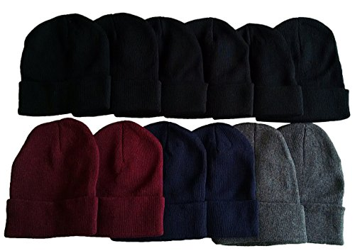 12 Winter Toboggan Beanie Hats by excell Thermal Sport Unisex, Assorted