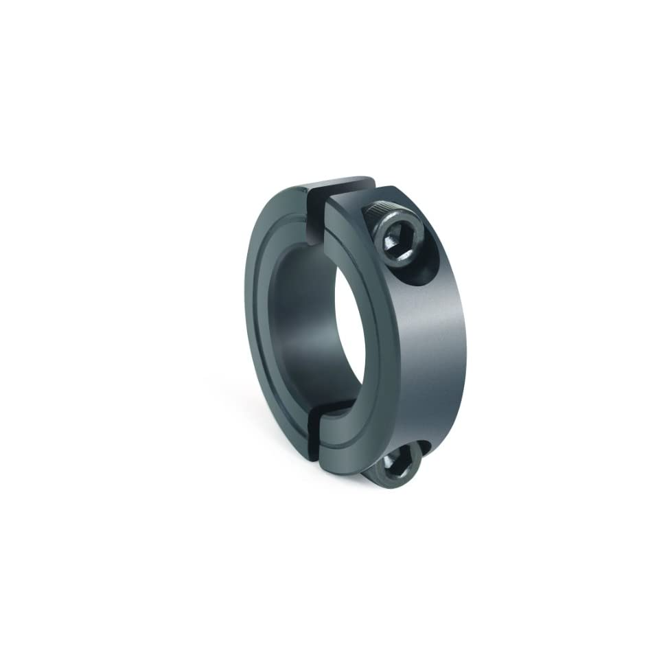 7//8 OD Climax Metal 2C-037 Steel Two-Piece Clamping Collar With 6-32 x 3//8 Set Screw 3//8 Bore Size Black Oxide Plating