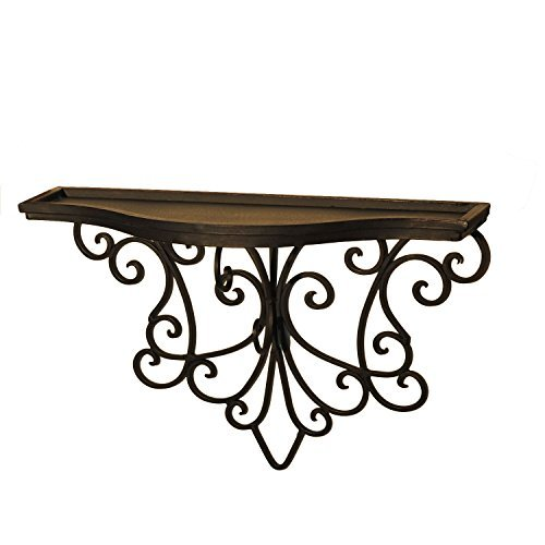Scroll Design Wall Decor : Adeco decorative iron wall shelf abstract scroll design