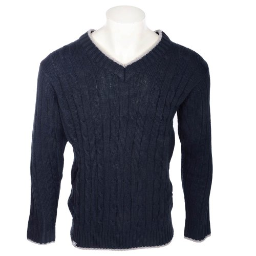 Slazenger Men's Navy Cable V Neck Knitted Jumper In Size Small
