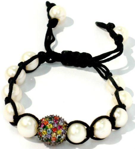 Shamballa 10mm Fresh Water Pearls with 14mm Multi Color CZ Pave Adjustable Handmade Unisex bracelet