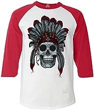 Shop4Everreg Chief Headdress Skull Baseball Shirt Native American Raglan Shirt