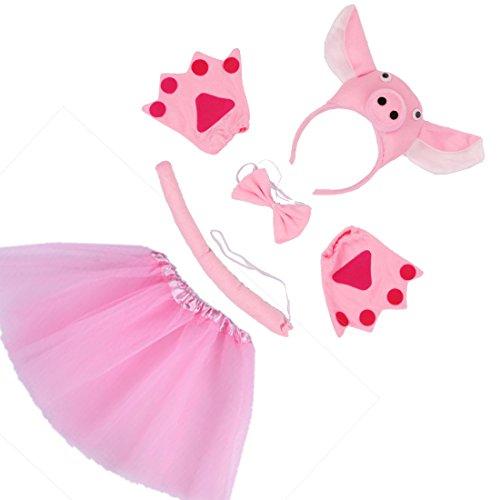 Simpatici animali Pig fascia Bowtie coda Guanti Tutu 5 piece La ragazza del costume di Halloween di compleanno o il partito