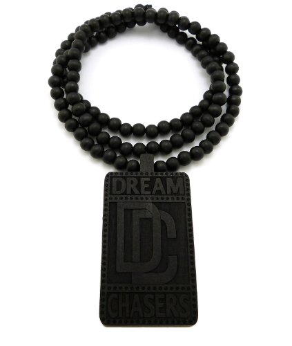 "Dc Dream Chasers Engraved Wood Pendant 36"" Wooden Bead Chain Necklace - Black Xj215Bk"