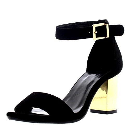 Donna Quasi Lì Ghilie Mirror Tacco Ritagliare Cinturino Alla Caviglia Sandali - Nero - UK5/EU38 - YE0048