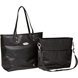 Boopeedo Vegan Leather Tote Diaper Bag with RFID Blocking Pocket - Black