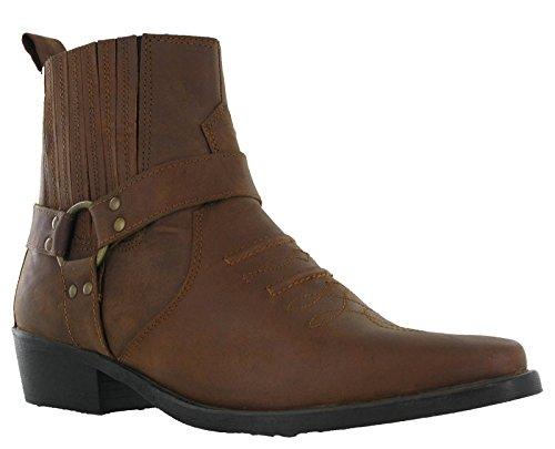 Da uomo, in pelle Cowboy Pull On occidentale Harness Smart caviglia stivali tacco cubano 7-12, marrone (Light Brown), 42 EU