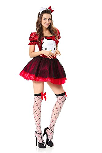 GALHAM - Adult Fancy Red Blue Hello Kitty Halloweeen Party Cosplay Dress Costume