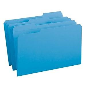 Smead File Folder, Reinforced 1/3-Cut Tab, Legal Size, Blue, 100 per Box (17034)