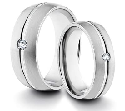 His & Her's 8MM/6MM Titanium Comfort Fit Wedding Band Ring Set w/ Brushed Finish & Solitaire CZ Diamond (Available Sizes H - Z+2) EMAIL US WITH YOUR SIZES