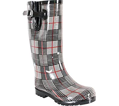 NOMAD Women's Puddles Rain Boot (Black/Red Plaid 5.0 M)
