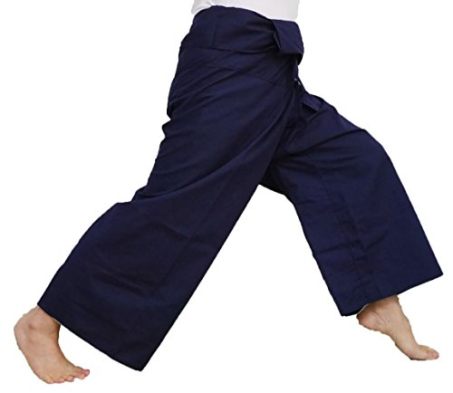 Loong Cha's Unisex Fisherman Yoga Causal Pants Waist 64 Inches Jumbo Size Toray (Dark Blue)