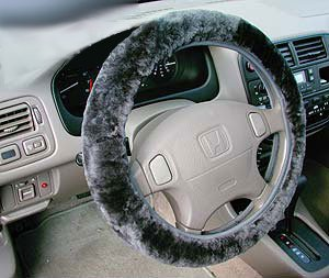 New Sheepskin Fur Leather Steering Wheel Cover Charcoal