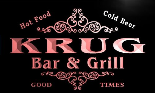 u24562-r-krug-family-name-bar-grill-home-beer-food-neon-sign-enseigne-lumineuse