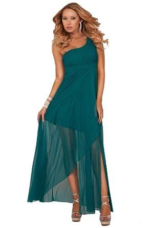 One Shoulder Empire Waist Crystal Beads Tulip Style Bridesmaid Maxi Long Dress