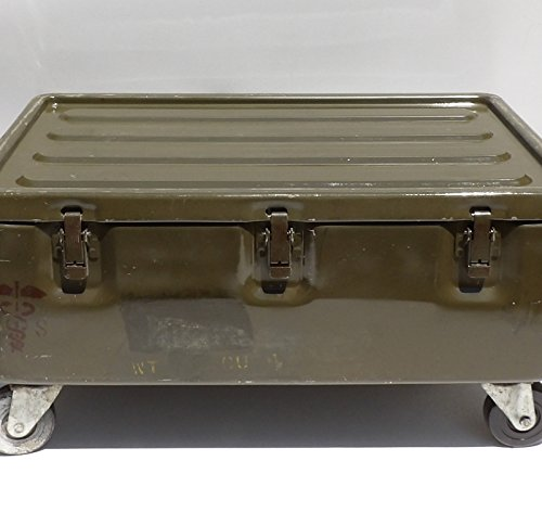 Military Trunk Coffee Table Foot Locker on Wheels 1