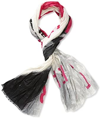 ONLY Women's Scarf -  Pink - Pink (NEON PUNK AOP:NEON SCARF W PRINT IN GREY TONES) - One size