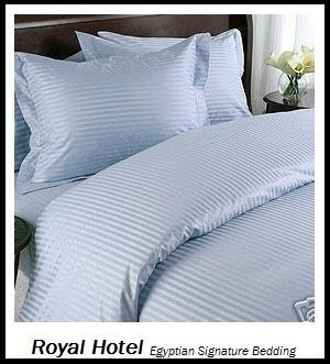 Royal Hotel'S Striped Blue 600-Thread-Count 3Pc Queen Duvet-Cover 100-Percent Egyptian Cotton, Sateen Striped front-451144