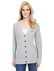 M&S Collection Wool Rich V-Neck Cable Knit Cardigan