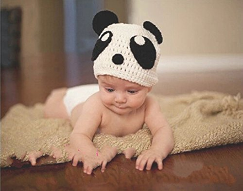 Jastore® Photography Prop Baby White Panda Costume Crochet Knitted Hat Diaper