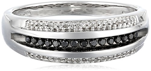 Men's Sterling Silver Black and White Diamond Ring (1/4 cttw) Size 13