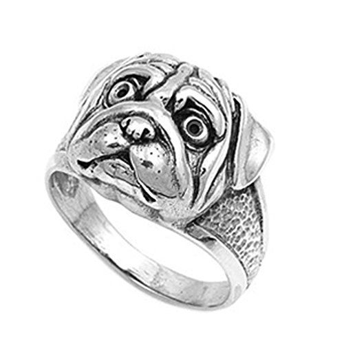 Sterling Silver Woman'S Boxer Bull Dog Ring Cute New Comfort Fit 925 Band 16Mm Size 10 Valentines Day Gift