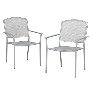 Outdoor Patio Gabbana Mesh Metal Stacking Dining/Bistro Chair Silver - Set of 2