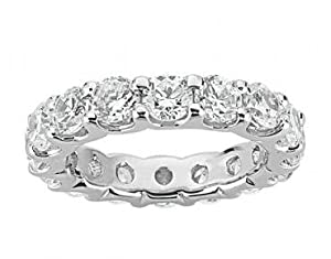 3.00 Ct Round Cut Diamond Eternity Wedding Band. Comfort Fit Ring in Platinum in Size 7