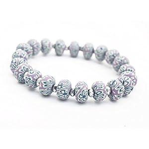 Bracelet élastique perles violettes fimo fleurs et perle cristal