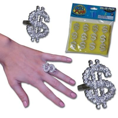 US Toy Dozen Metallic Look Plastic Dollar Sign Bling Rings Costume