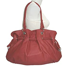X-Large Red Leather Lk Drawstring Hobo Handbag