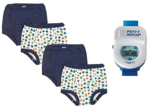Gerber 4 Pack Training Pants With Potty Watch Timer, Boy, 3T front-982297
