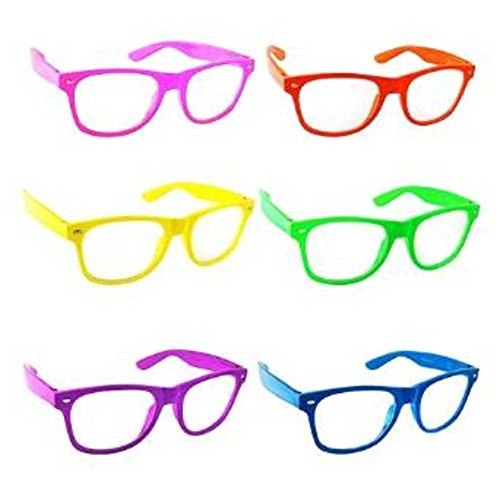 DJSR Imports 6 Nerd Glasses Buddy Holly Wayfarer Clear Lenses Diff Colors (Buddy Holly Halloween Costume)