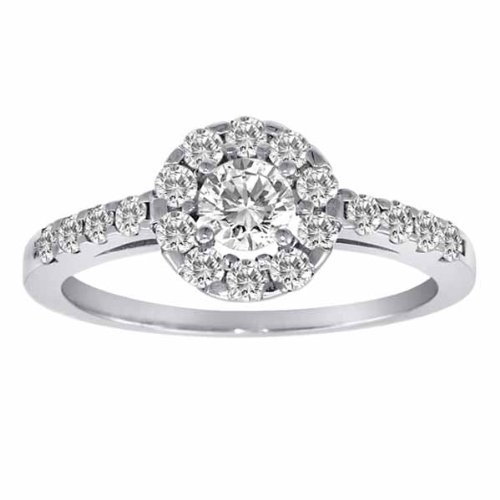 ... Silver Halo Round Diamond Engagement Ring (1 cttw, F-G, SI1) - Size 8
