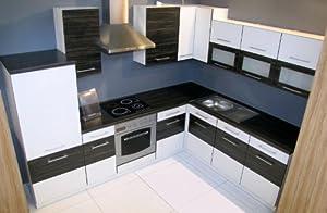 Winkelküche Jessy 270 x 220cm Küchenzeile / Küchenblock variabel stellbar in weiss /merapi  Bewertungen und Beschreibung