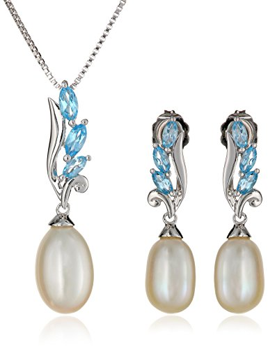 Sterling+Silver+Swiss+Blue+Topaz+Freshwater+Cultured+Pearl+Earrings+Pendant+Necklace+Jewelry+Set