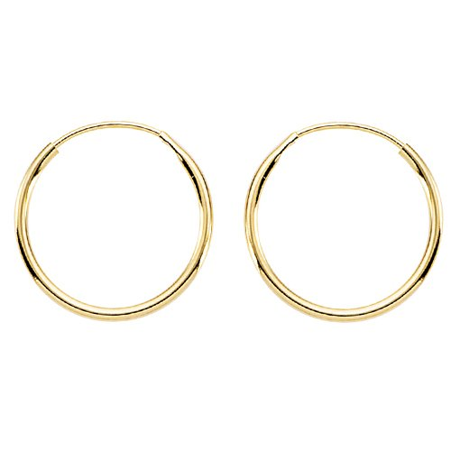14K Yellow Gold 14 MM Children's Hoop Earrings