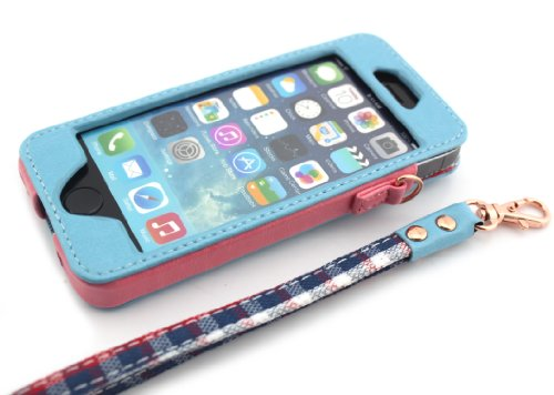 Nine States High Quality Pu Leather Inner Lattice Pattern Protective Case Cover For Apple Iphone 5 5S With Hand Strap Blue front-64461